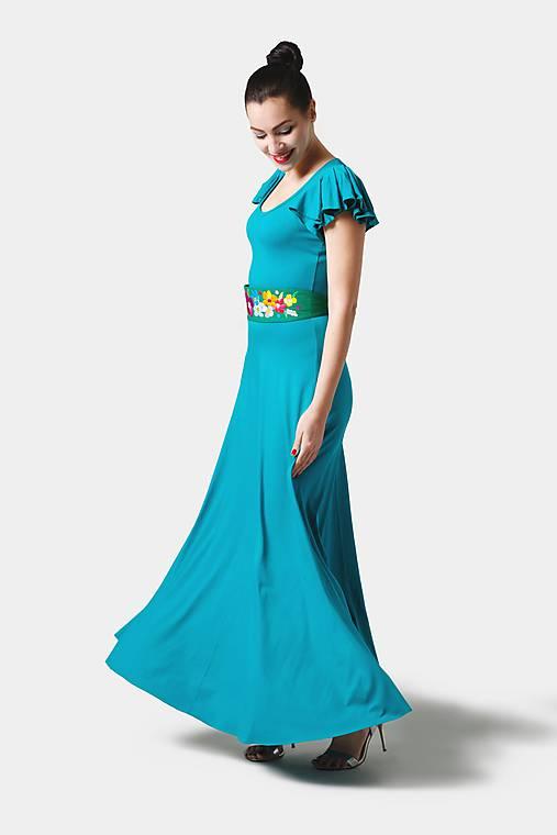 Šaty - Dlhé šaty s volánovymi rukávmi - 11280292_