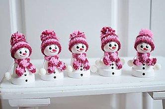 Dekorácie - Snehuliaci drobci ružoví - 11283657_