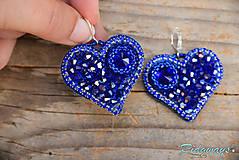 Náušnice - Srdce na dlani...vyšívané (Sapphire) - 11284511_