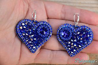 Náušnice - Srdce na dlani...vyšívané (Sapphire) - 11284512_