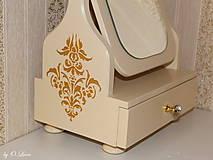 Zrkadlá - Otočné 50 cm veľké zrkadlo - Zlatý ornament - 11280645_