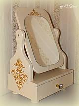 Zrkadlá - Otočné 50 cm veľké zrkadlo - Zlatý ornament - 11280646_