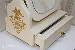 Zrkadlá - Otočné 50 cm veľké zrkadlo - Zlatý ornament - 11280649_