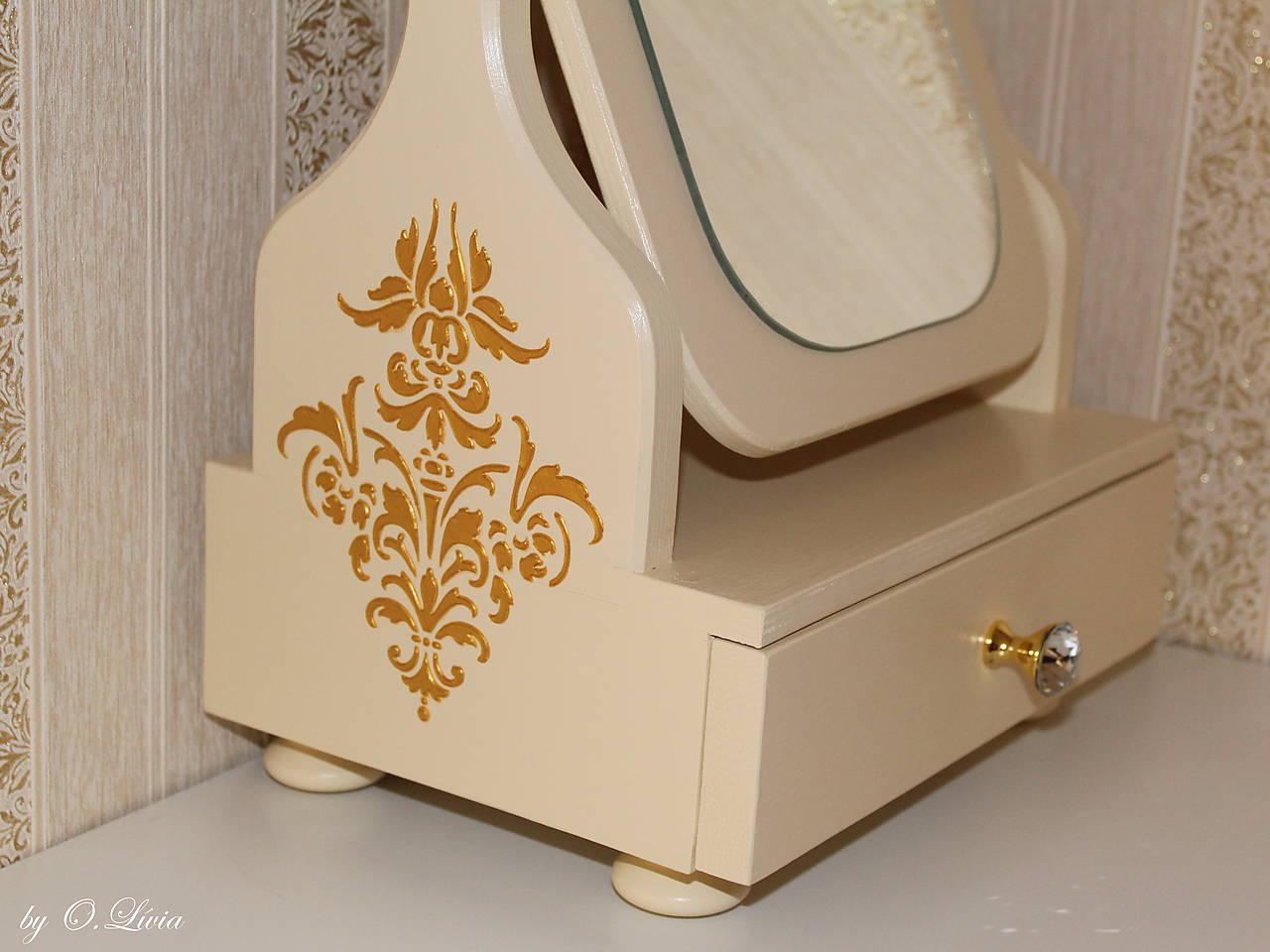Otočné 50 cm veľké zrkadlo - Zlatý ornament