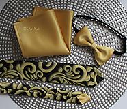 Doplnky - Zlato čierna pánska kravata (kravata s vreckovkou) - 11284705_