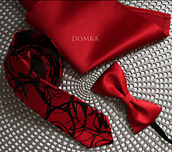 Doplnky - Červeno čierna pánska kravata - 11284644_