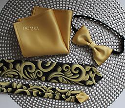 Doplnky - Zlato čierna pánska kravata - 11284705_