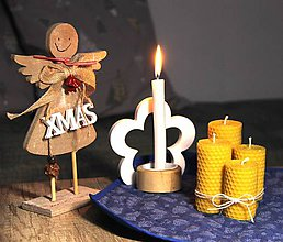 Svietidlá a sviečky - adventné sviečky z včelieho vosku (12,10,8,6 cm - Žltá) - 11283188_