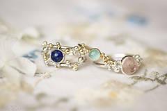 Prstene - Strieborno-zlatý dvojitý prsteň s lapisom lazuli - Bokeh Duo Lapis - 11280487_