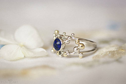 Strieborno-zlatý dvojitý prsteň s lapisom lazuli - Bokeh Duo Lapis
