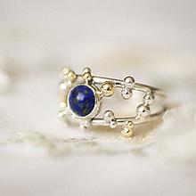 Prstene - Strieborno-zlatý dvojitý prsteň s lapisom lazuli - Bokeh Duo Lapis - 11280495_