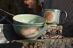 Nádoby - misky raňajkové, zelené, medienkové - 11281146_