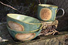 Nádoby - misky raňajkové, zelené, medienkové - 11281164_