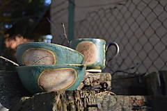 Nádoby - misky raňajkové, zelené, medienkové - 11281184_