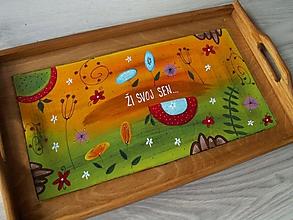 Nádoby - Maľovaná tácka - 11279804_