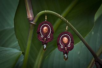Náušnice - Bordová elegancia - Ručne šité šujtášové náušnice - Soutache earrings - 11285054_