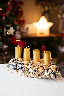 Dekorácie - Vianoce - adventný svietnik - zlatý - 11282621_