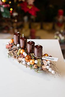 Dekorácie - Vianoce - adventný svietnik - medený - 11282706_