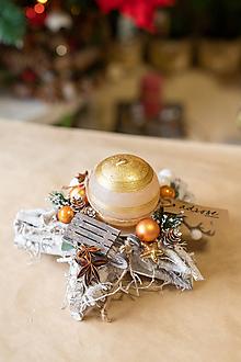 Dekorácie - Vianoce - svietnik - zlatá hviezda - 11282775_