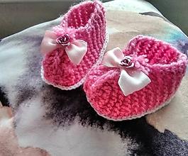Topánočky - Detské pletené papučky - 11279494_