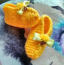 Topánočky - Detské pletené papučky - žlté - 11279540_