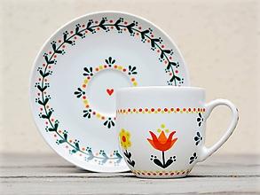 Nádoby - Maľovaná šálka na kávu s podšálkou: Kvietky folk/folklór - 11282527_