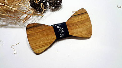Doplnky - Pánsky drevený motýlik modrý folklór- folk , modrotlač - 11283223_