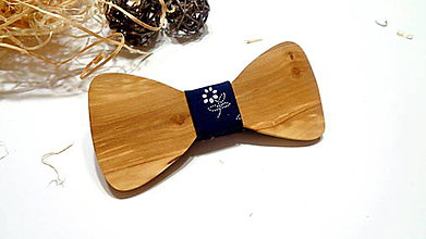Doplnky - Pánsky drevený motýlik folkový - modrotlač ,folk - 11283530_