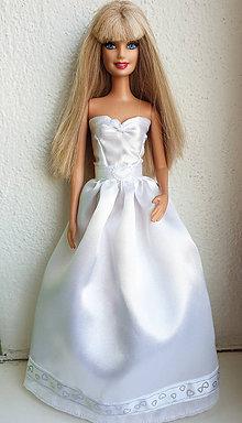 Hračky - Svadobné šaty so srdiečkami pre Barbie - 11279961_