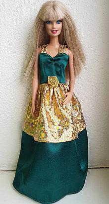 Hračky - Spoločenské šaty so zlatým pre Barbie - 11281966_