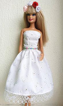Hračky - Madeirové midi šaty pre Barbie - 11282023_