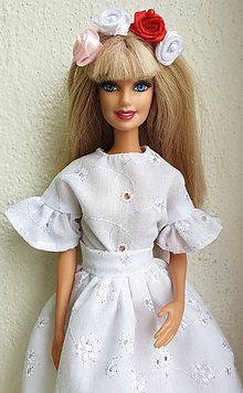 Hračky - Madeirová blúzka s volánikmi pre Barbie - 11282060_