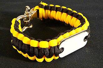 Iné šperky - PARACORD náramok žltý v vlastnou grafikou - 11281206_