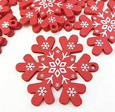 Polotovary - Výrez vianočný Vločka 5 cm  (Červená) - 11284048_