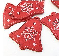 Polotovary - Výrez vianočný Zvonček 5 cm  (Červená) - 11284098_