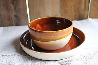 Nádoby - Keramický tanier a miska - 11280596_