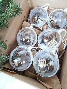 Dekorácie - Vianočné gule 6 ks biele - 11284147_