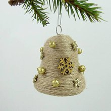 Dekorácie - GAIA - vianočná dekorácia - gule a zvonček (zvonček 6,5 x 6,5 cm) - 11283258_