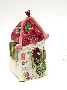 Svietidlá a sviečky - svietnik dom farebné (Ružová) - 11282496_
