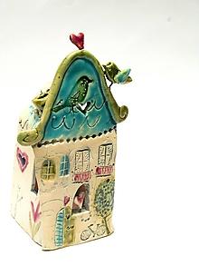 Svietidlá a sviečky - svietnik dom farebné (Zelená) - 11282515_