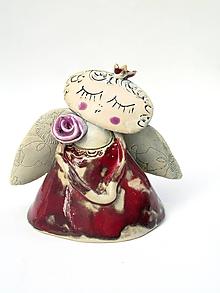 Dekorácie - anjel červený malý  (Červená) - 11282561_