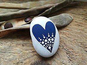 Dekorácie - Modré srdiečko - 11280026_