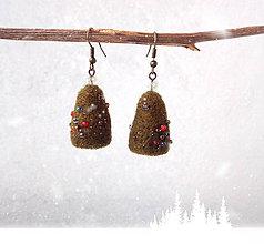 Náušnice - Plstené náušnice Na vianočný večierok - 11282650_