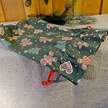 Úžitkový textil - Vianočné vrecká (Zelené perníčky) - 11279893_