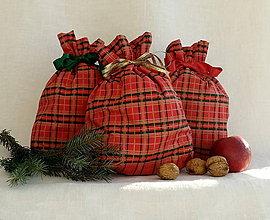 Úžitkový textil - Vianočné vrecká (Červeno-zelené káro) - 11283955_