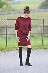 Šaty - Svetrové šaty MEDA - bordo, vel.S/M - 11281421_