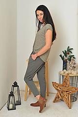 Nohavice - Ležérne 7/8 nohavice - mačkaný vzhlad - 11281502_