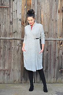 Svetre/Pulóvre - Svetrový kabátek - šedý melír - 11280393_