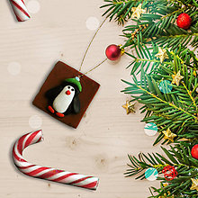 Dekorácie - FIMO vianočné ozdoby čokoládky (tučniak) - 11283302_