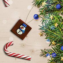 Dekorácie - FIMO vianočné ozdoby čokoládky (snehuliačik) - 11283393_